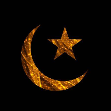 star: Crescent and Star for Ramadan card. Vector illustration. Illustration