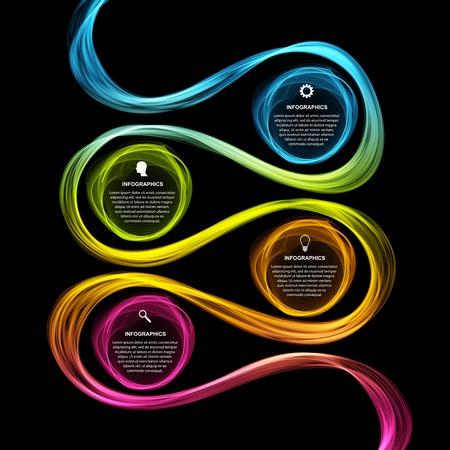 Abstract infographics opties banner. wave neon. Vector illustratie.