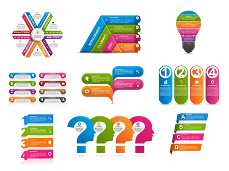Collection of colorful infographics. Design elements. Illustration