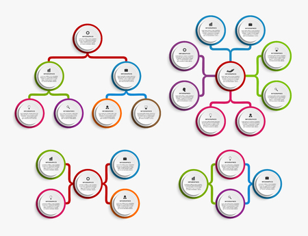 Collection infographic design organization chart template.