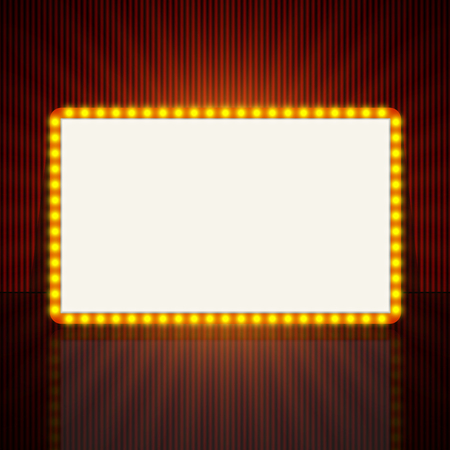 film festival: Glowing retro light banner for text. Vector illustration.
