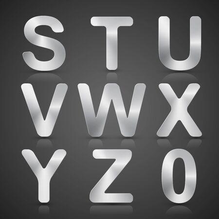 silver: Vector Metallic Silver Alphabet Set.