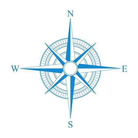 bussola: Vector blu bussola icona.