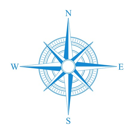 wind instrument: Vector blue compass icon.