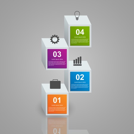 analisys: Infographics consisting of realistic colorful 3d cubes. Design elements.
