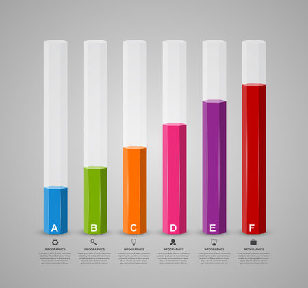 style template: 3D chart style infographic design template. Illustration