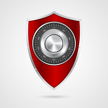 security symbol: Protection red shield with the combination lock.