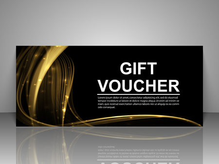 note paper background: Gift voucher template. Abstract futuristic wave background Illustration