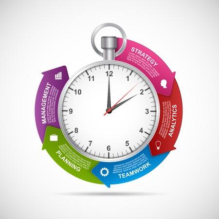Plantilla de diseño de infografías. Cronómetro con una flecha circular y el reloj en el interior. Ilustración del vector.