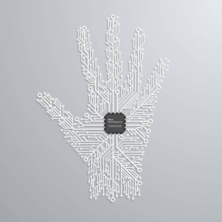 Abstract hand in an electronic circuit chip. Design elements. Vector Illustration