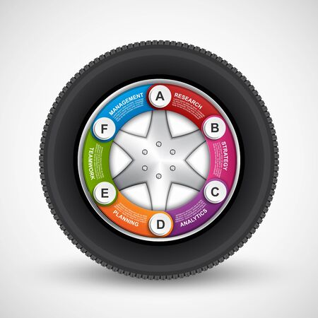wheel: Car Wheel Infographic Design Template. . Vector illustration. Illustration