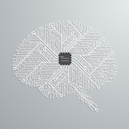 The brain in an electronic circuit with an electronic chip. Vector background.