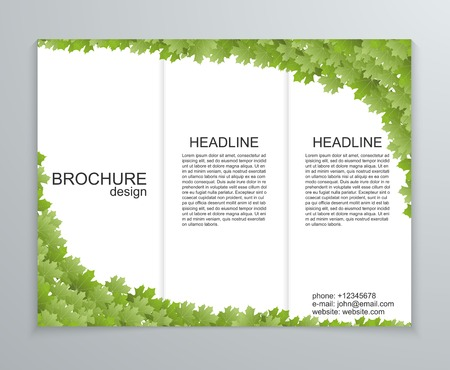 the publisher: Vector abstract brochure design template. Spring green foliage. Illustration