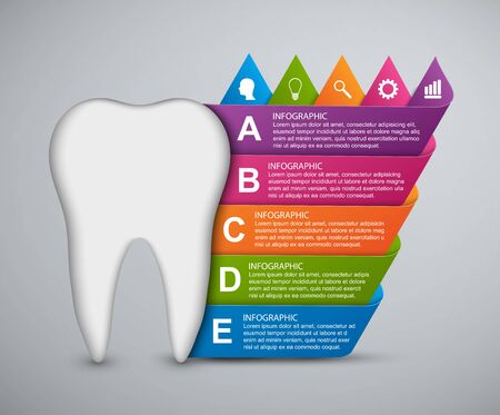 carious: Abstract infographic tooth and colored ribbons.