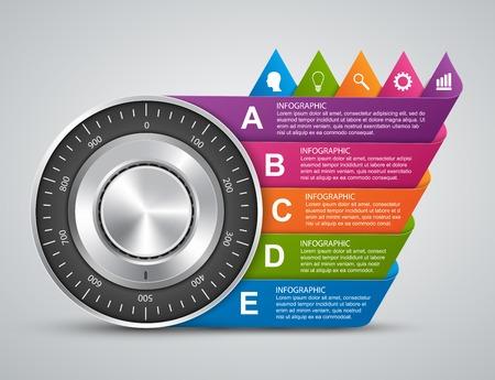 safe lock: Protection information. Combination safe lock design concept infographics.