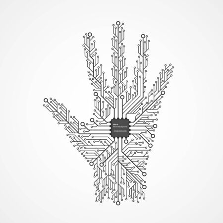 Abstract hand in an electronic circuit chip. Design elements.