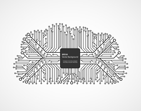 electronic circuit: Cloud computing technology in an electronic circuit chip. Design elements. Illustration