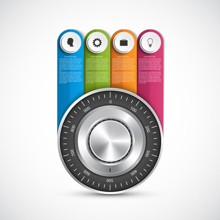 combination safe: Protection information. Combination safe lock design concept infographics.