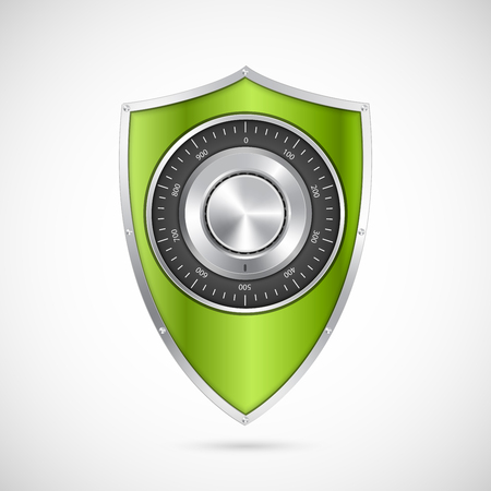 Protection green shield with the combination lock. Illustration