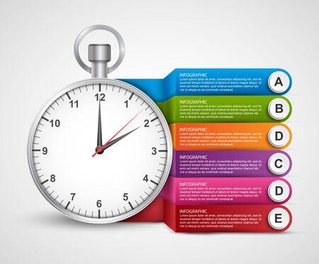 Infografica modello di progettazione. Orologio con nastri colorati. Illustrazione vettoriale.