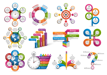 analisys: Big collection of colorful infographics. Design elements. Illustration