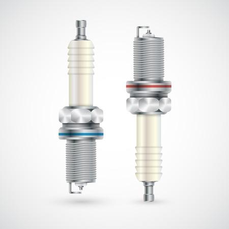 electronics parts: Spark plug isolated on white background. Vector Illustration. Illustration