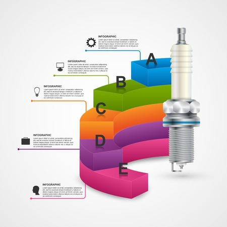 spark: Infographics with spark plugs for presentations and brochures. Illustration