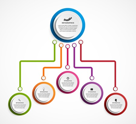 Infographic design organization chart template. 矢量图像