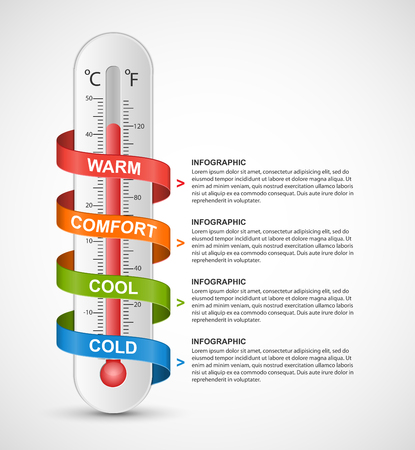 growth hot: Infographics thermometer surrounded by multi-colored ribbon. Vector illustration.