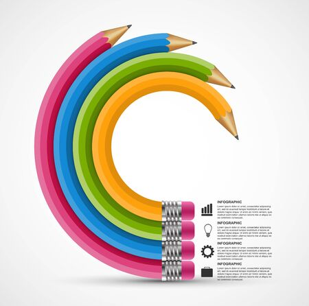 Chart with pencil for infographic. For presentations or information booklet. Vector illustration.