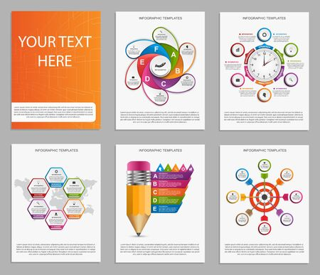 analisys: Collection of colorful infographics. Design elements. Illustration