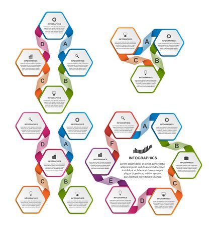 analisys: Collection of colorful hexagon infographics. Design elements. Illustration