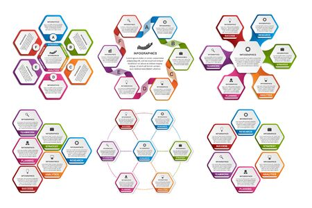 analisys: Collection of hexagon colorful infographics. Design elements.