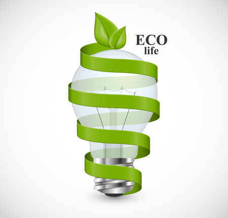 eco energy: Eco energy concept. Light bulb wrapped with green ribbon and green leaves at the top. Illustration