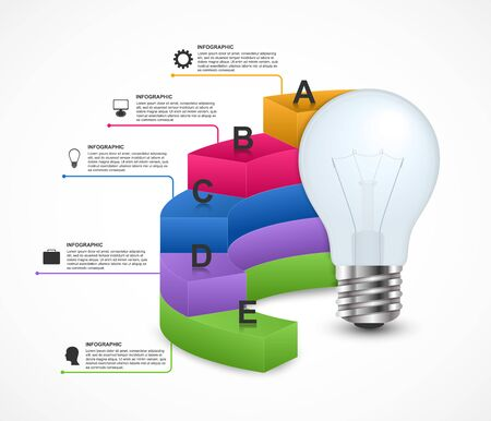 Infographics for business presentations or information booklet. Idea light bulb with a diagram.