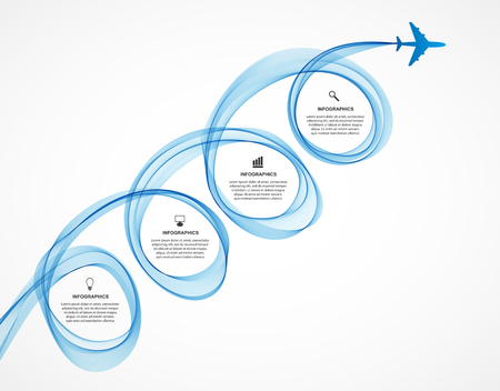 blue smoke: Abstract infographic airplane and wave a blue smoke. Vector illustration.