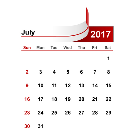 month: Vector simple calendar 2017 year july month.