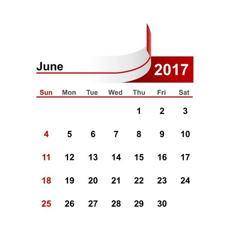 month: Vector simple calendar 2017 year june month. Illustration