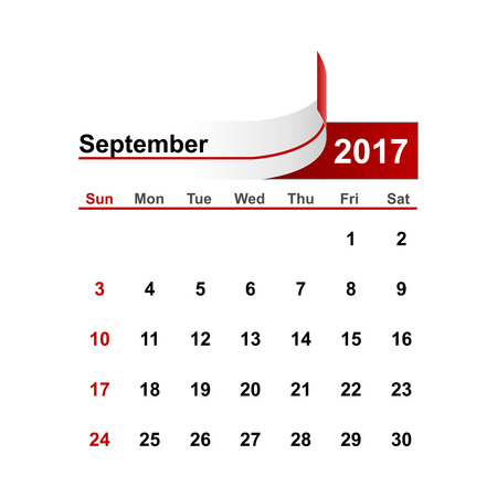 september: Vector simple calendar 2017 year september month.