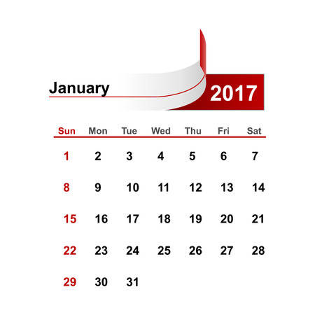 month: Vector simple calendar 2017 year january month.