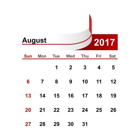 month: Vector simple calendar 2017 year august month.