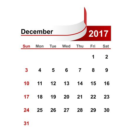 month: Vector simple calendar 2017 year december month. Illustration