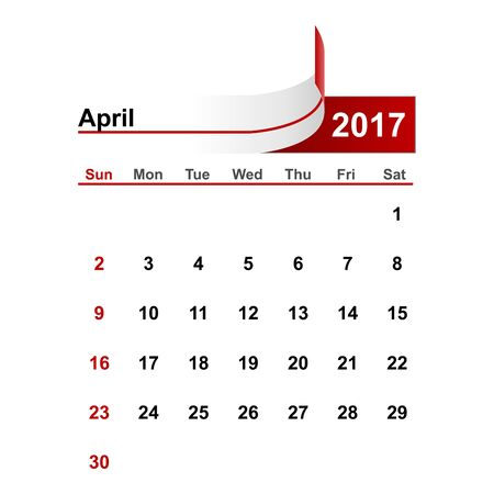month: Vector simple calendar 2017 year april month.