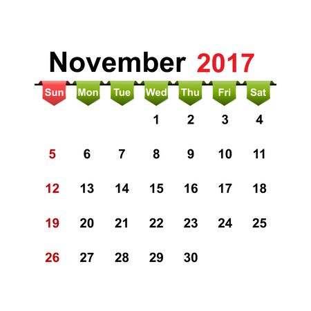 month: Vector simple calendar 2017 year november month.