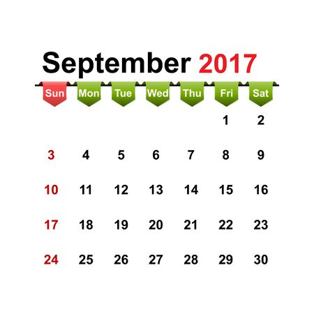 month: Vector simple calendar 2017 year september month.