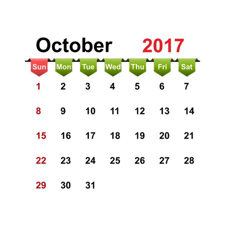 month: Vector simple calendar 2017 year october month.