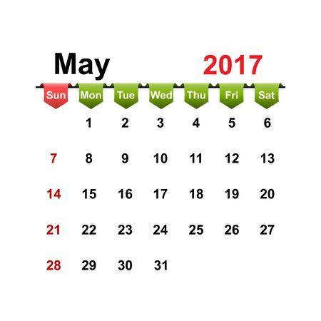 month: Vector simple calendar 2017 year may month. Illustration