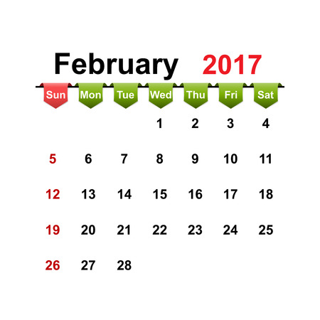 month: Vector simple calendar 2017 year february month.