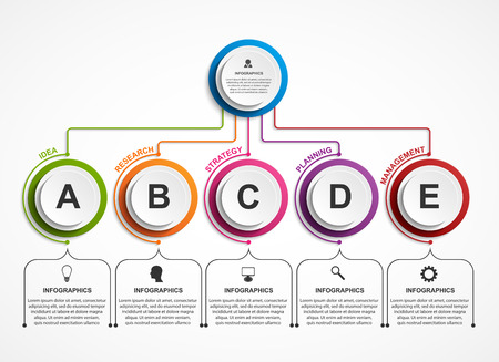 Infographic design organization chart template. 일러스트