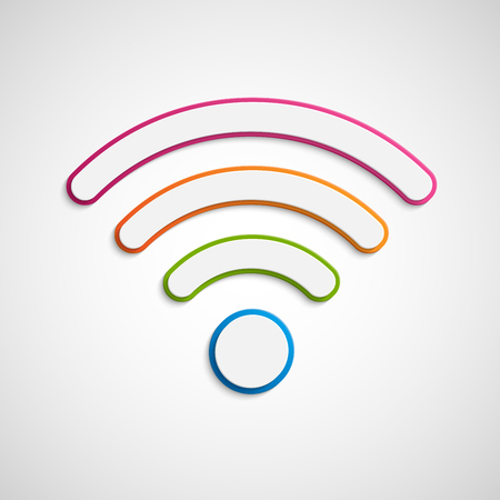 3D wifi icon. Wireless signal sign.